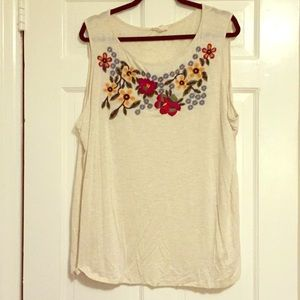 Off-White Tank Top with Embroidered Neckline